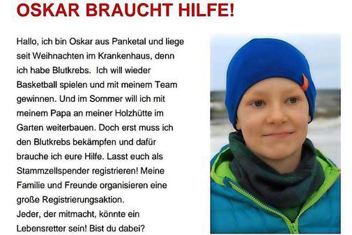 Oskar braucht einen Stammzellspender